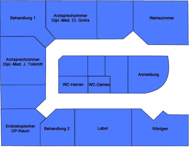 Grundriss der Urologischen Gemeinschaftspraxis Tolkmitt / Grohs
